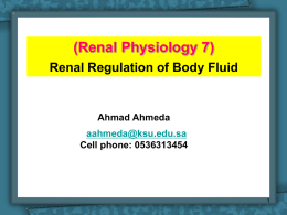 Renal Physiology 7 (Body Fluids and regulation)