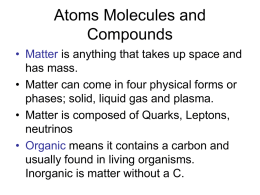Atoms Molecules and Compounds - Parkway C-2