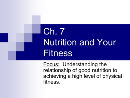 Ch. 7 Nutrition and Your Fitness