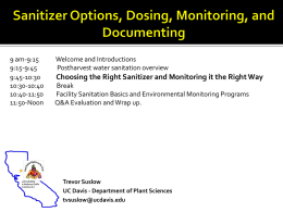 Sanitizer Options, Dosing, Monitoring, and Documenting