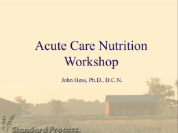 Acute Care Nutrition Workshop