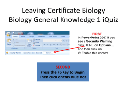 Leaving Certificate Biology Topic iQuiz