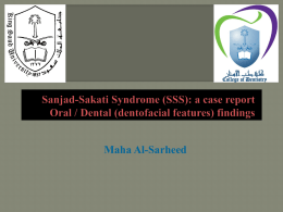 Sanjad-Sakati Syndrome (SSS): a case report Oral / Dental