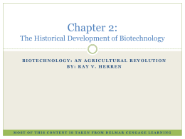 Chapter 2: The Historical Development of Biotechnology