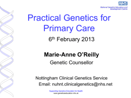 Genetics in Primary Care - Derby GP Specialty Training Programme