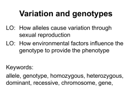 Variation and genotypes