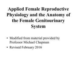 Applied Female Reproductive Physiology and the anatomy of the