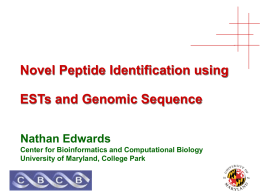 Novel Peptide Identification using ESTs and