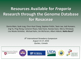 Resources for Fragaria Research in GDR
