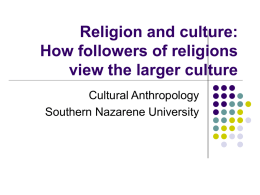 issue of Christ and culture - Southern Nazarene University