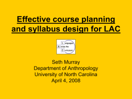 """Effective Course Planning and Syllabus Design for LAC"""