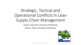 Strategic, Tactical and Operational Conflicts in Lean