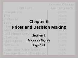 Chapter 6 Prices and Decision Making