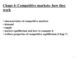 Supply, Demand and Market Equilibrium – Chap 4