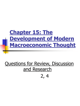Chapter 15: The Development of Modern Macroeconomic Thought