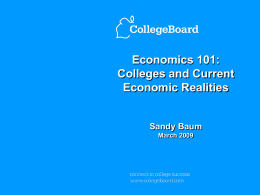 Colleges and Current Economics Realities