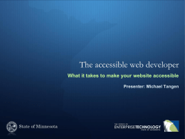 The accessible web developer - Minnesota Department of