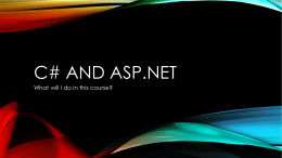 C# and ASP.net - East Tennessee State University