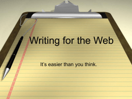 Writing for the Web - University of California, San Francisco