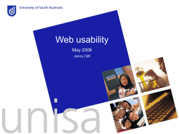 Web Usability - University of South Australia