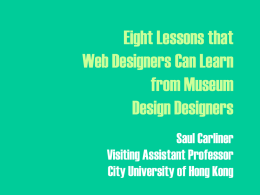 Lessons for Web Design from Museum Design