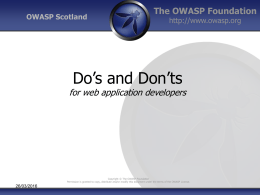 Do`s and Don`ts for web application developers