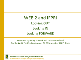 International Food Policy Research Institute sustainable solutions for