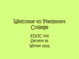 Welcome to Piedmont College - Home Page for George D. Bagwell