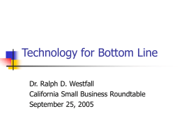 Technology for Bottom Line (California Small Business Roundtable)
