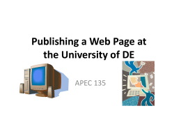 PublishingaWebPageat.. - University of Delaware