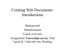 Web Design I. Introductions - Purchase College Faculty Web Server