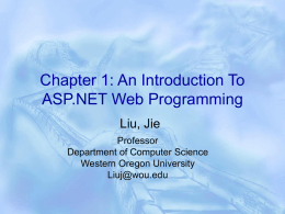 Chapter 1: An Introduction To ASP.NET Web Programming