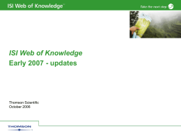 Q407updates - Web of Knowledge