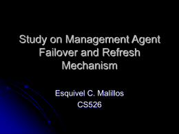 Study on Management Agent Failover and Refresh Mechanism