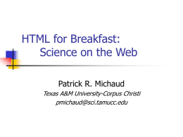 HTML for Breakfast: Science on the Web