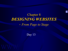 DESIGNING WEB SITES - From Page to Stage