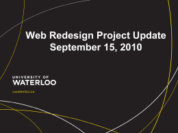 Web Redesign Project Report September 2010