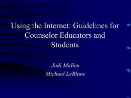 Internet Uses for Counselors