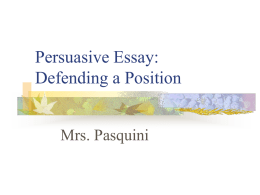 Persuasive Research Essay PowerPoint