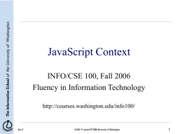 JavaScript Context - UW Courses Web Server