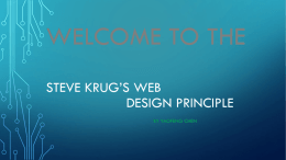 WELCOME TO THE STEVE KRUG'S WEB DESIGN PRINCIPLE BY YAOFENG CHEN
