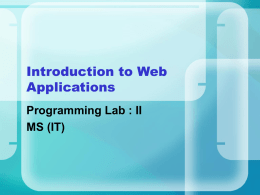 Introduction to web applications