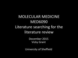 MED6090 - Literature Searching for the