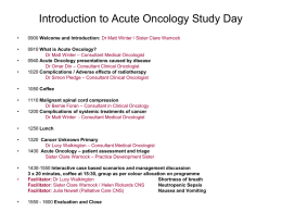 Acute Oncology - Sheffield Teaching Hospitals NHS Foundation Trust