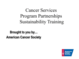 Cancer Services Program Partnerships Sustainability Training