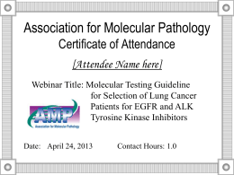 Association for Molecular Pathology Certificate of