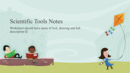 Scientific Tools notes