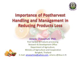 Importance of Postharvest Handling and Management in