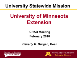 University's Statewide Mission: Research and Extension Centers