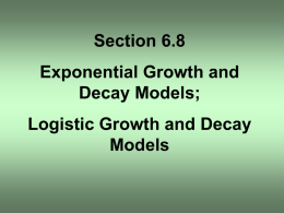 Section 6.8 Exponential Growth and Decay Models